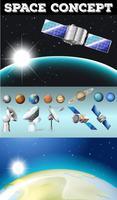 Planètes dans l'espace et autres objets