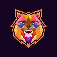 conception de tête de lion de polygone vecteur