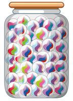 Billes colorées dans un bocal en verre vecteur