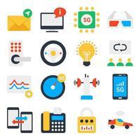 pack d'icônes plates de communication et de big data vecteur