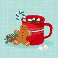 chocolat chaud à la guimauve et biscuit au pain d'épice vecteur