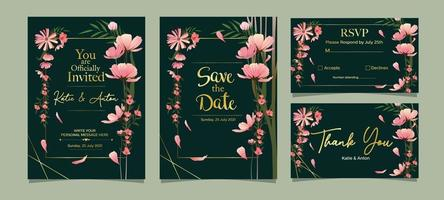 modèle de carte d & # 39; invitation de mariage vecteur
