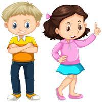 Joli garçon et fille debout vecteur