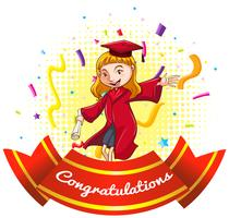 Félicitations signe avec fille en robe de graduation