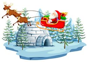 Père Noël et traîneau avec igloo