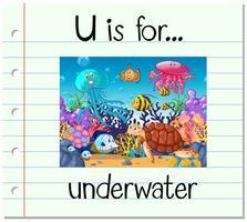Flashcard lettre U est pour sous l'eau vecteur