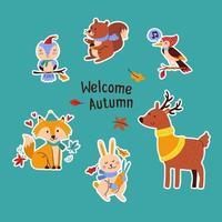 pack d'autocollants animaux d'automne vecteur