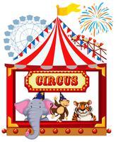 Un thème de cirque avec des animaux vecteur