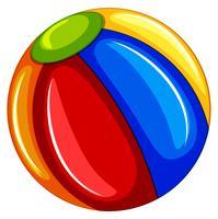 Un ballon de plage coloré sur fond blanc
