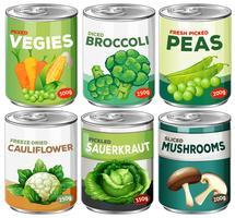 Ensemble de légumes en conserve vecteur