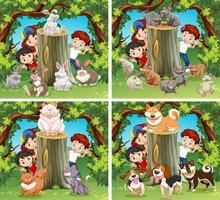 Enfants et animaux sauvages dans la forêt vecteur