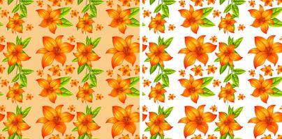 Fond transparent avec des fleurs orange vecteur
