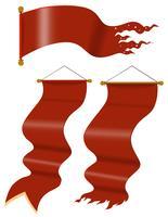 Drapeaux rouges dans le style médiéval vecteur
