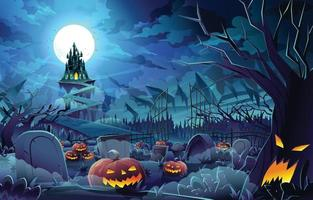 concept de paysage de nuit d'halloween vecteur