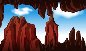 Vue extérieure à la recherche de la grotte