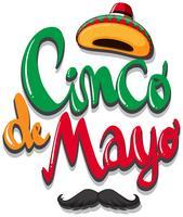 Conception d'affiche Cinco de Mayo avec un chapeau mexicain