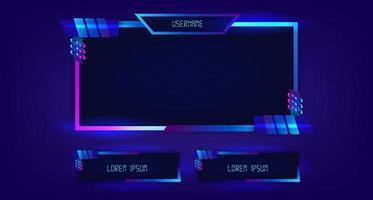 cadre facecam flux en direct jeu gaming jouer vidéo vecteur