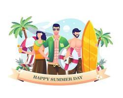 personnes célébrant la journée d'été à la plage. illustration de la journée d'été vecteur