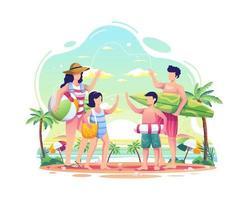 famille heureuse s'amusant sur la plage pendant l'illustration de l'été vecteur