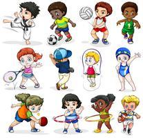 Enfants se livrant à différentes activités sportives