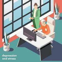 La dépression stress fond isométrique vector illustration