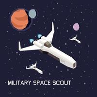 illustration vectorielle de vaisseau spatial composition isométrique vecteur