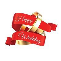 illustration vectorielle de composition de bagues de mariage heureux vecteur