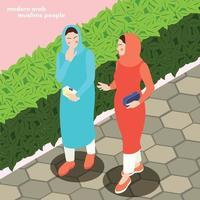 illustration vectorielle de femmes musulmanes modernes fond vecteur