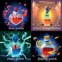 Potions magiques 2x2 design concept vector illustration