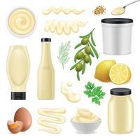 illustration vectorielle de mayonnaise réaliste vecteur