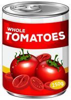 Une boîte de tomates entières vecteur