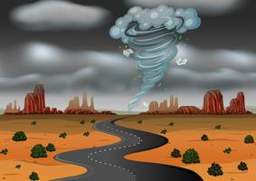Une tempête frappe le désert vecteur