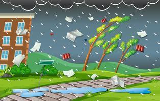Scène de tempête avec pluie et vent vecteur