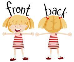 Petite fille avec vue avant et arrière