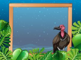 Un vautour sur cadre en bois de nuit