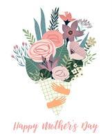 Bonne fête des mères. Modèle de vecteur avec des fleurs.