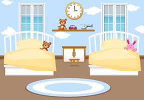 Fond de chambre à coucher intérieur enfants vecteur