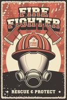 affiche rétro rustique de pompier vecteur