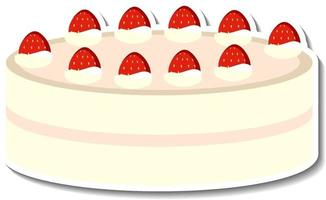 Gâteau à la vanille avec autocollant fraise isolé sur fond blanc vecteur