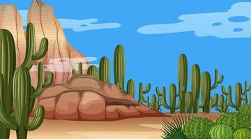 paysage de forêt désertique à la scène de jour avec diverses plantes du désert vecteur