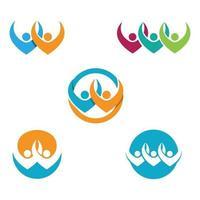icône de vecteur de modèle de logo dadoption et de soins communautaires