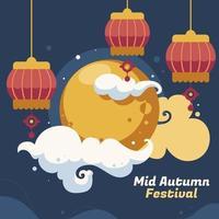 carte du festival chinois de la mi-automne vecteur
