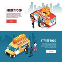 camions de nourriture bannières horizontales vector illustration