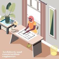 Ingénieurs en architecture de la construction background vector illustration