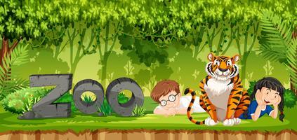 Enfants avec scène de tigre vecteur