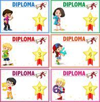 Ensemble de modèle de certificat de diplôme