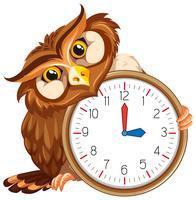Un hibou sur une horloge moderne vecteur