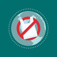 dites non aux sacs en plastique. arrêter le concept de pollution plastique. vecteur