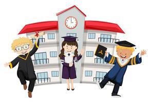 Etudiants en tenue de graduation à l'école
