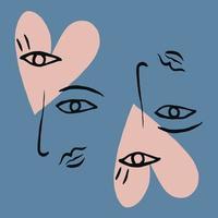 pinceau ligne art coeur yeux, nez, lèvres et visage dessin illustration vecteur